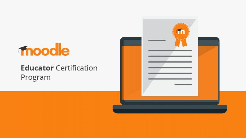 "Alt=""Laptop with a certificate over lay with orange and grey color scheme"""
