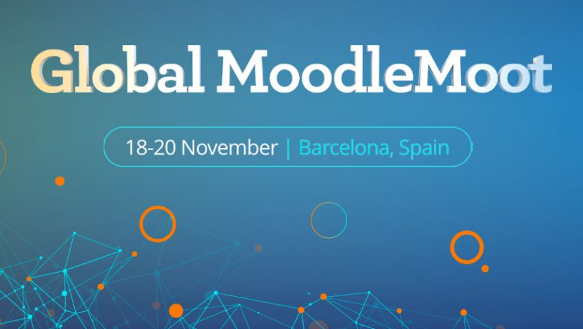 """alt= blue background with atom motif with whote text spelling Global Moodle Moot"""""""